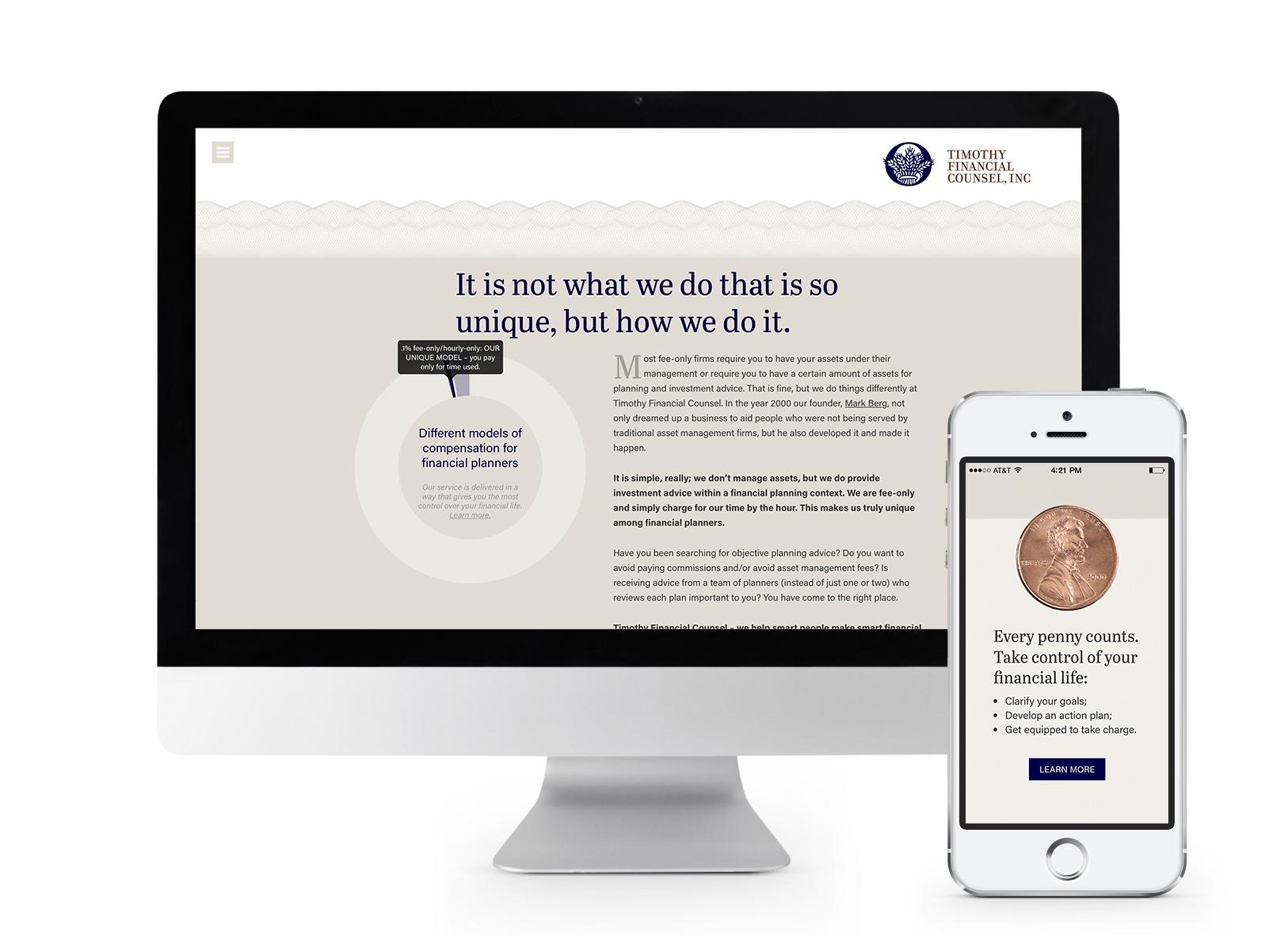 Responsive website design for financial planning firm